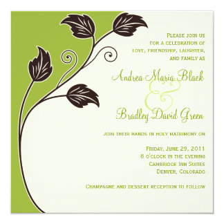 Spring Green and Ivory Wedding Invitation