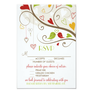 Spring Green and Red Cute Lovebirds RSVP Card