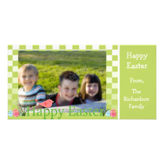 Spring Green and White Checkers Easter Eggs Customized Photo Card