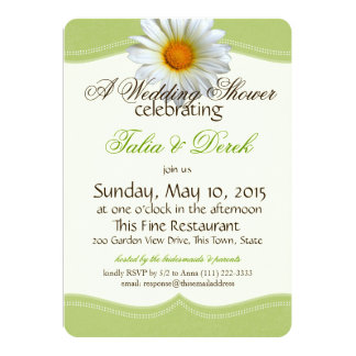 Spring Green and White Gazania Wedding Shower Card