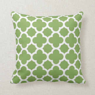 Spring Green and White Quatrefoil Throw Pillow