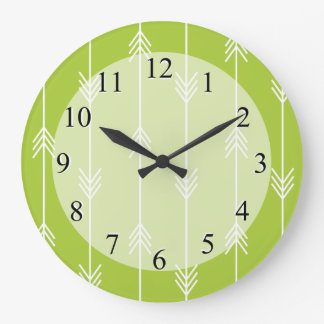Spring Green Arrow Pattern Clocks