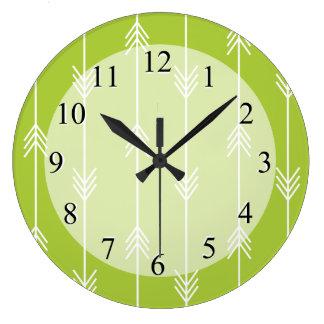 Spring Green Arrow Pattern Large Clock