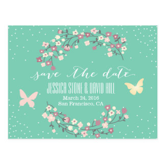 Spring Green Butterfly & Flowers Save the Date Postcard