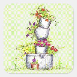 Spring Green Check Flower Garden Bucket Square Sticker