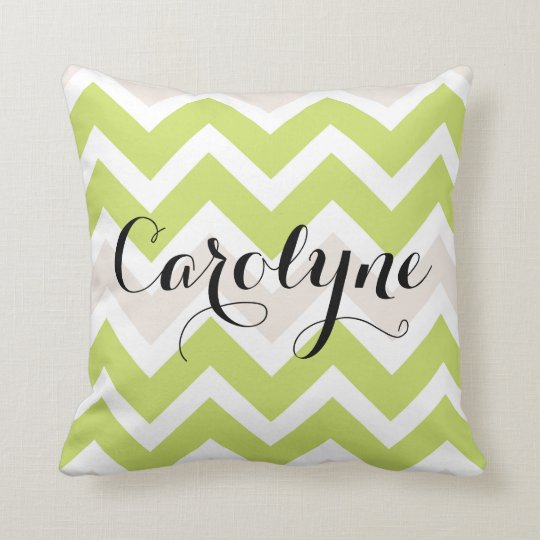 Spring Green Chevron Personalized Pillow