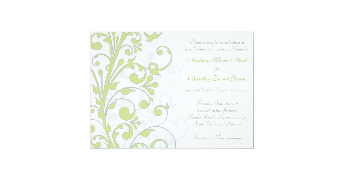 White And Green Wedding Invitations: Spring Green, Grey, & White Wedding Invitation