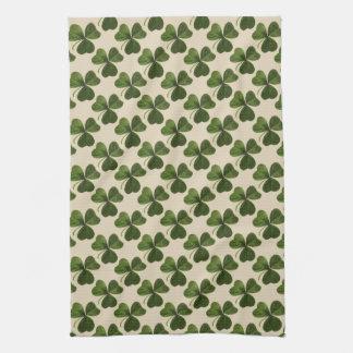 Spring Green Irish Shamrock Pattern Kitchen Towel
