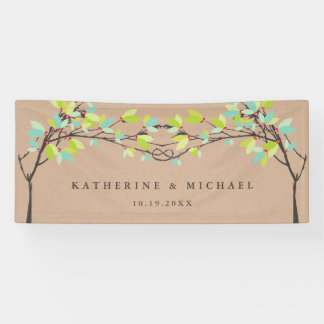 Spring Green Knotted Love Trees Wedding Banner