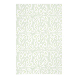 Spring Green Paisley Floral Personalized Stationery
