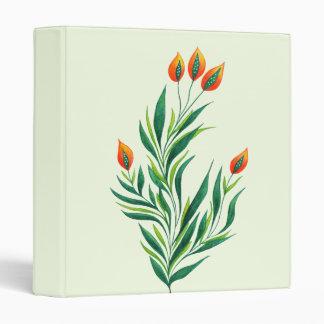 Spring Green Plant With Orange Buds 3 Ring Binder