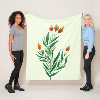 Spring Green Plant With Orange Buds Fleece Blanket