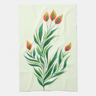 Spring Green Plant With Orange Buds Kitchen Towel
