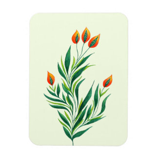 Spring Green Plant With Orange Buds Magnet