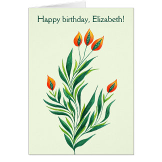 Spring Green Plant With Orange Buds Name Birthday Card