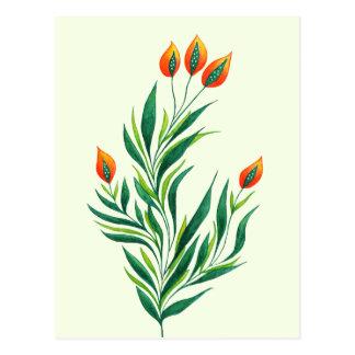 Spring Green Plant With Orange Buds Postcard