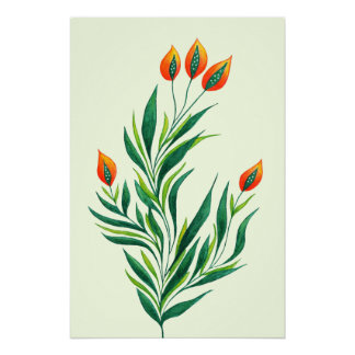 Spring Green Plant With Orange Buds Poster