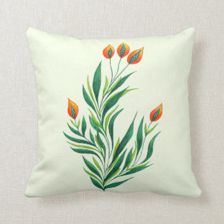Spring Green Plant With Orange Buds Throw Pillow