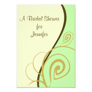 Spring Green Swirl Bridal Shower Invitation