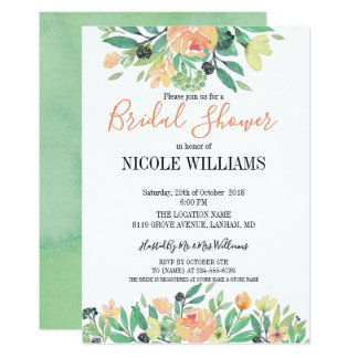 Spring Green watercolor pink peony  Bridal Shower Card