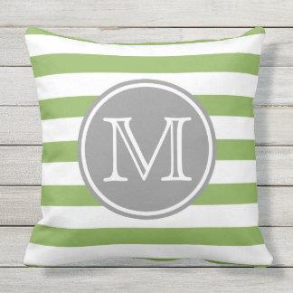Spring Greenery and White Stripe Monogram Throw Pillow