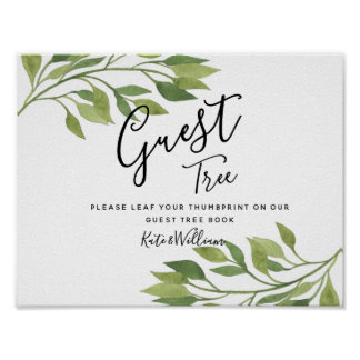 spring greenery wedding guestbook Tree SIGN