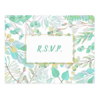 Spring Greenery wedding RSVP + entree choices Postcard