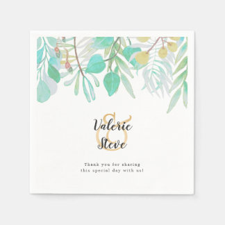 Spring Greenery wedding | thank you message Disposable Napkins