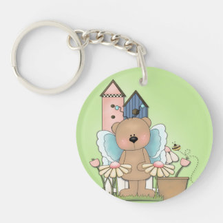 Spring Has Sprung, Adorable Butterfly Bear Single-Sided Round Acrylic Keychain