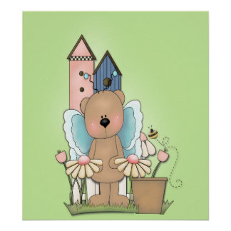 Spring Has Sprung, Adorable Butterfly Bear Poster