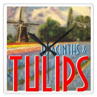 Spring Hyacinths and Tulips Bulbs Windmill Wallclock
