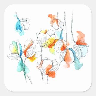 spring inflorescence square sticker