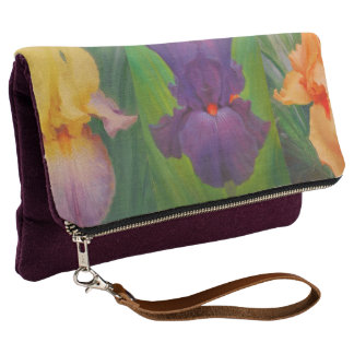 Spring Irises Fold-Over Clutch