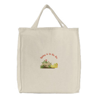 Spring is in the Air Embroidered Tote Bags