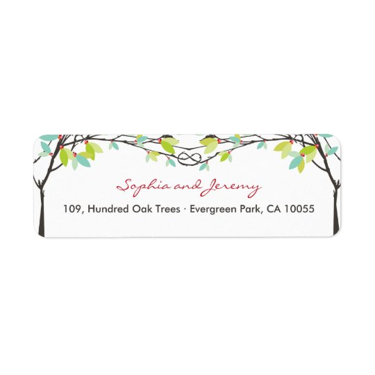 Spring Knotted Love Trees Wedding Address Labels