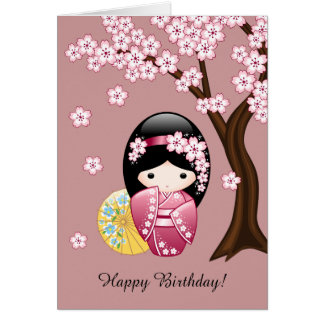 Spring Kokeshi Doll - Cute Geisha Birthday Card