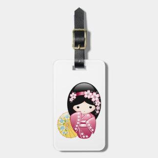 Spring Kokeshi Doll - Cute Japanese Geisha Girl Luggage Tag