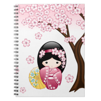 Spring Kokeshi Doll - Cute Japanese Geisha Girl Notebook