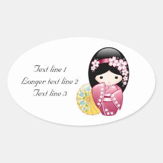 Spring Kokeshi Doll - Cute Japanese Geisha Girl Oval Sticker