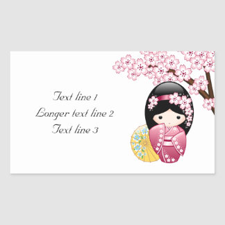 Spring Kokeshi Doll - Cute Japanese Geisha Girl Sticker