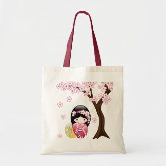Spring Kokeshi Doll - Cute Japanese Geisha Girl Tote Bag
