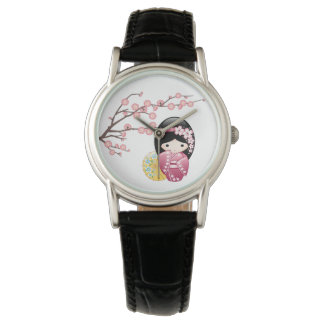 Spring Kokeshi Doll - Cute Japanese Geisha Girl Wrist Watches
