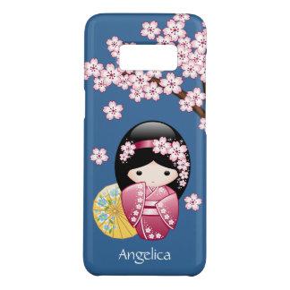 Spring Kokeshi Doll - Cute Japanese Geisha on Blue Case-Mate Samsung Galaxy S8 Case