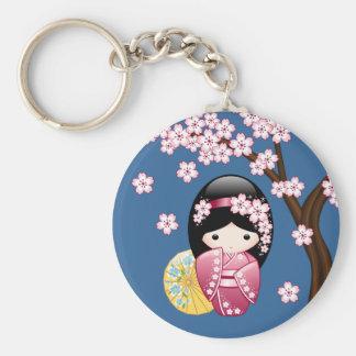 Spring Kokeshi Doll - Cute Japanese Geisha on Blue Keychain