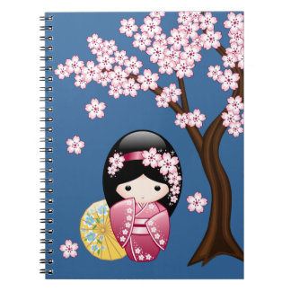 Spring Kokeshi Doll - Cute Japanese Geisha on Blue Notebook