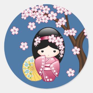 Spring Kokeshi Doll - Cute Japanese Geisha on Blue Round Sticker