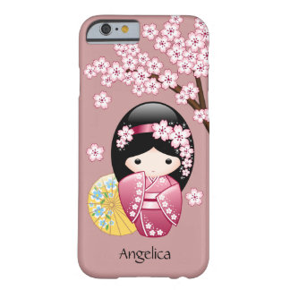 Spring Kokeshi Doll - Cute Japanese Geisha on Pink Barely There iPhone 6 Case