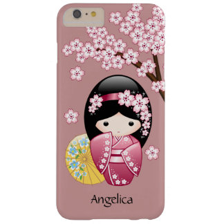 Spring Kokeshi Doll - Cute Japanese Geisha on Pink Barely There iPhone 6 Plus Case