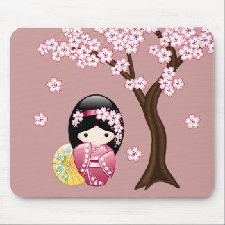 Spring Kokeshi Doll - Cute Japanese Geisha on Pink Mouse Pad