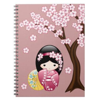 Spring Kokeshi Doll - Cute Japanese Geisha on Pink Notebook